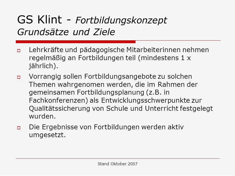 Stand Oktober 2007 GS Klint - Fortbildungskonzept Grundsätze und Ziele  Lehrkräfte und pädagogische Mitarbeiterinnen nehmen regelmäßig an Fortbildung