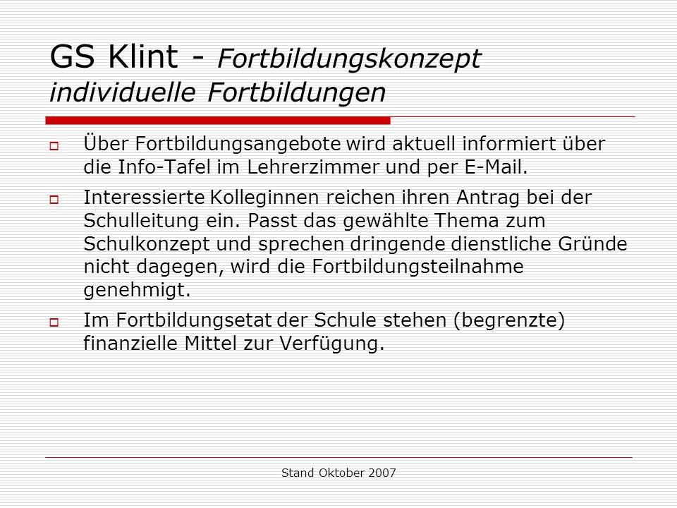 Stand Oktober 2007 GS Klint - Fortbildungskonzept individuelle Fortbildungen  Über Fortbildungsangebote wird aktuell informiert über die Info-Tafel i