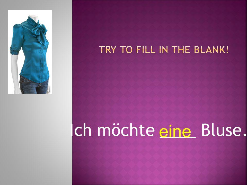 Ich möchte ____ Bluse. eine