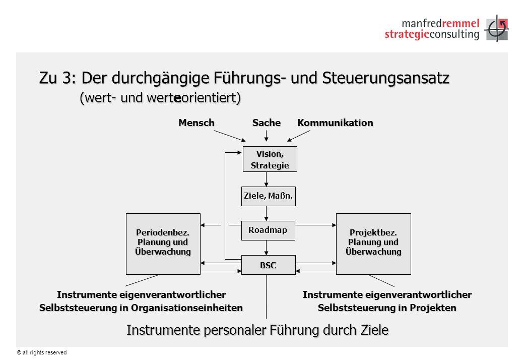 © all rights reserved Zu 3: Der durchgängige Führungs- und Steuerungsansatz (wert- und werteorientiert) Mensch Sache Kommunikation Instrumente eigenve