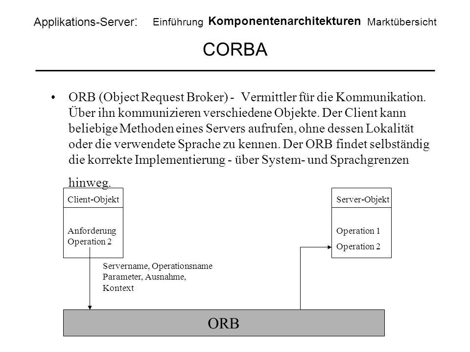 CORBA ORB (Object Request Broker) - Vermittler für die Kommunikation. Über ihn kommunizieren verschiedene Objekte. Der Client kann beliebige Methoden