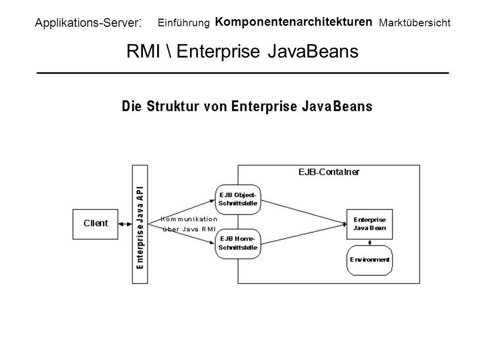 RMI \ Enterprise JavaBeans Applikations-Server : Einführung Komponentenarchitekturen Marktübersicht