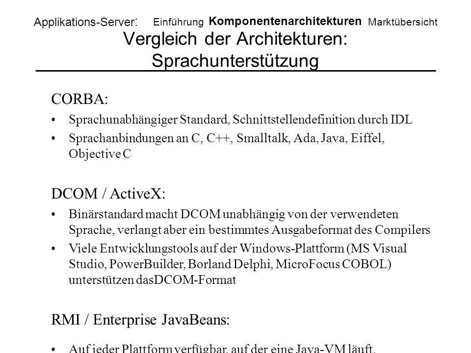 Vergleich der Architekturen: Sprachunterstützung Applikations-Server : Einführung Komponentenarchitekturen Marktübersicht CORBA: Sprachunabhängiger St