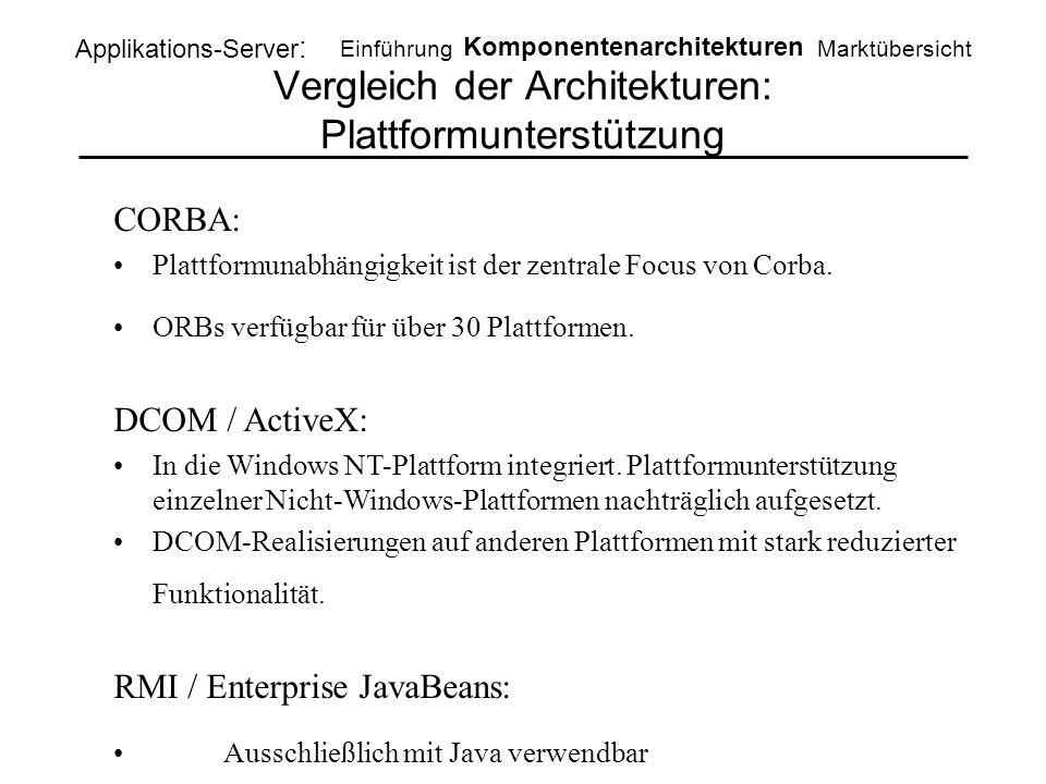 Vergleich der Architekturen: Plattformunterstützung Applikations-Server : Einführung Komponentenarchitekturen Marktübersicht CORBA: Plattformunabhängi