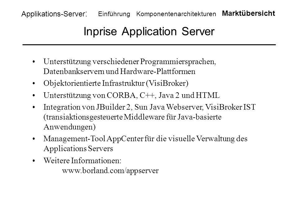 Inprise Application Server Unterstützung verschiedener Programmiersprachen, Datenbankservern und Hardware-Plattformen Objektorientierte Infrastruktur