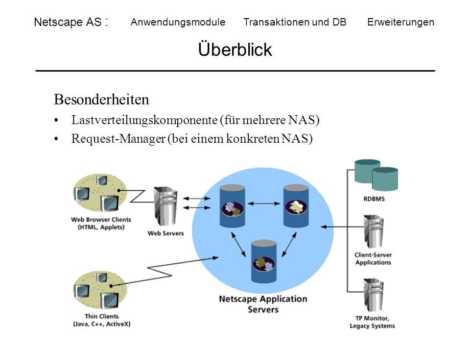 Überblick Netscape AS : Anwendungsmodule Transaktionen und DBErweiterungen Besonderheiten Lastverteilungskomponente (für mehrere NAS) Request-Manager