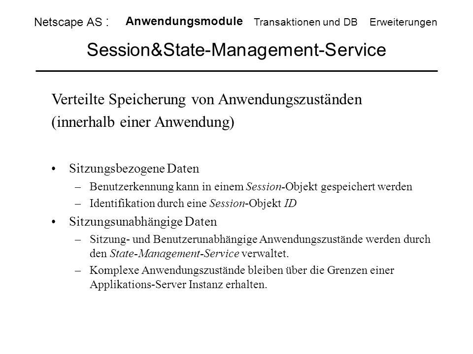 Session&State-Management-Service Verteilte Speicherung von Anwendungszuständen (innerhalb einer Anwendung) Sitzungsbezogene Daten –Benutzerkennung kan