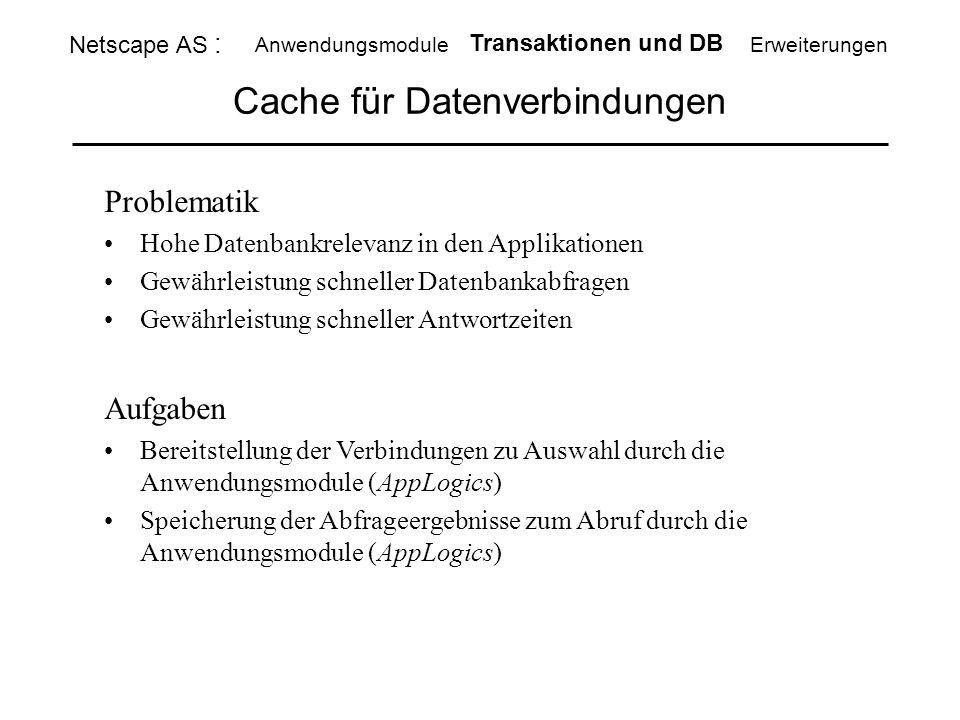 Cache für Datenverbindungen Netscape AS : Anwendungsmodule Transaktionen und DB Erweiterungen Problematik Hohe Datenbankrelevanz in den Applikationen