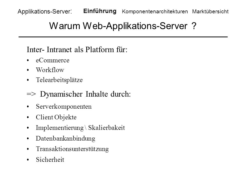 Warum Web-Applikations-Server .