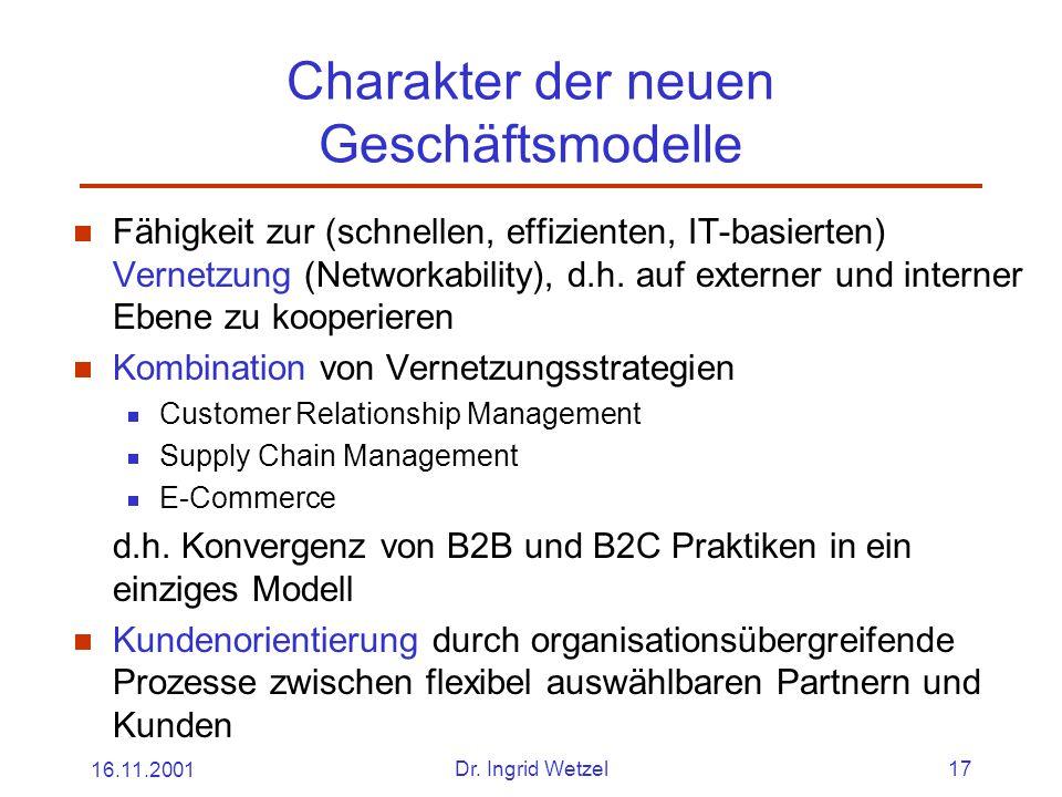 16.11.2001Dr. Ingrid Wetzel17 Charakter der neuen Geschäftsmodelle  Fähigkeit zur (schnellen, effizienten, IT-basierten) Vernetzung (Networkability),
