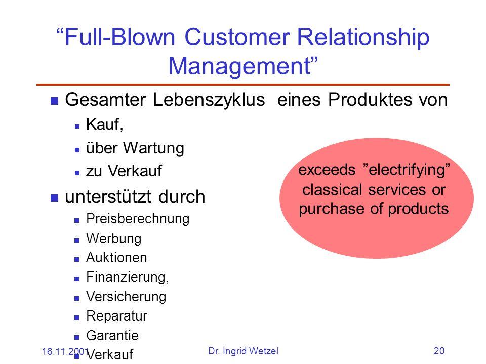 """16.11.2001Dr. Ingrid Wetzel20 """"Full-Blown Customer Relationship Management""""  Gesamter Lebenszyklus eines Produktes von  Kauf,  über Wartung  zu Ve"""