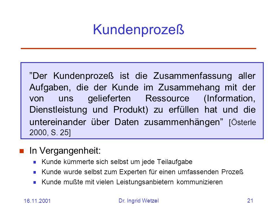 """16.11.2001Dr. Ingrid Wetzel21 Kundenprozeß """"Der Kundenprozeß ist die Zusammenfassung aller Aufgaben, die der Kunde im Zusammehang mit der von uns geli"""