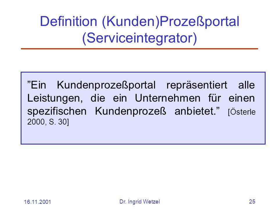 """16.11.2001Dr. Ingrid Wetzel25 Definition (Kunden)Prozeßportal (Serviceintegrator) """"Ein Kundenprozeßportal repräsentiert alle Leistungen, die ein Unter"""