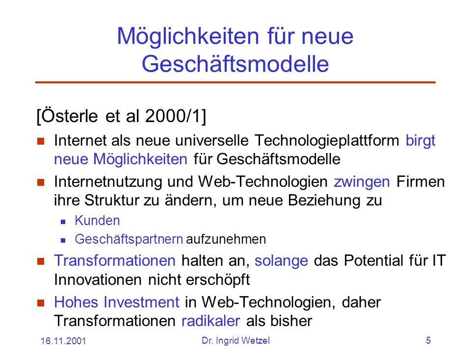 16.11.2001Dr. Ingrid Wetzel5 Möglichkeiten für neue Geschäftsmodelle [Österle et al 2000/1]  Internet als neue universelle Technologieplattform birgt