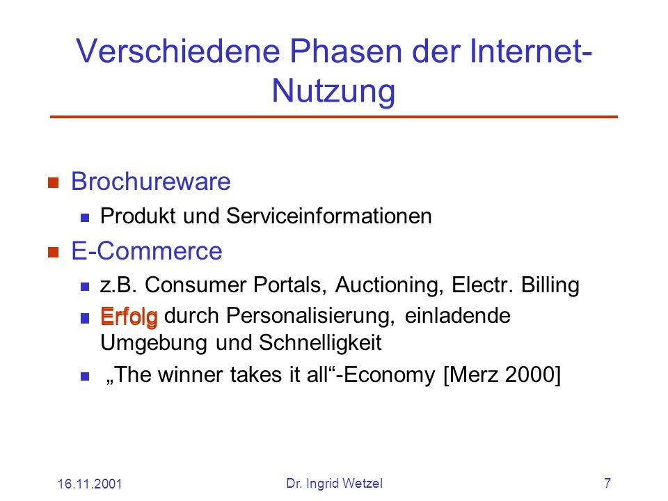 16.11.2001Dr. Ingrid Wetzel7 Verschiedene Phasen der Internet- Nutzung  Brochureware  Produkt und Serviceinformationen  E-Commerce  z.B. Consumer