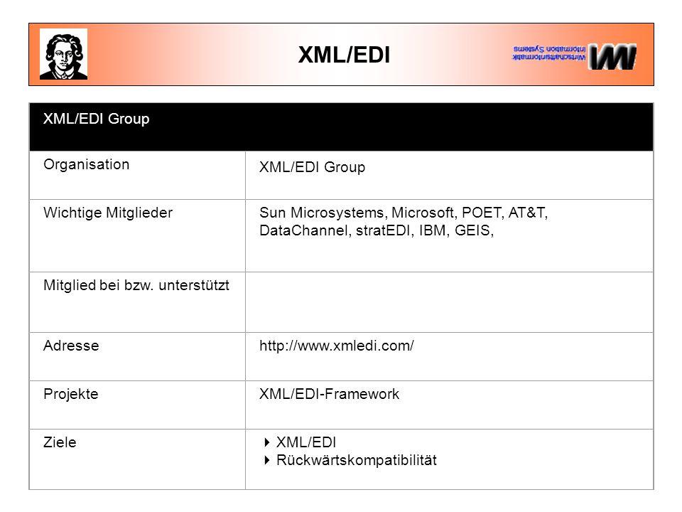 XML/EDI XML/EDI Group Organisation XML/EDI Group Wichtige MitgliederSun Microsystems, Microsoft, POET, AT&T, DataChannel, stratEDI, IBM, GEIS, Mitglied bei bzw.