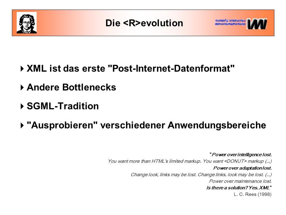 Die evolution  XML ist das erste Post-Internet-Datenformat  Andere Bottlenecks  SGML-Tradition  Ausprobieren verschiedener Anwendungsbereiche Power over intelligence lost.