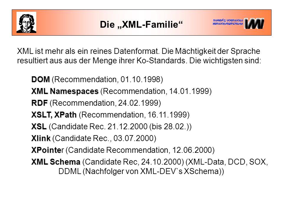 """Die """"XML-Familie XML ist mehr als ein reines Datenformat."""