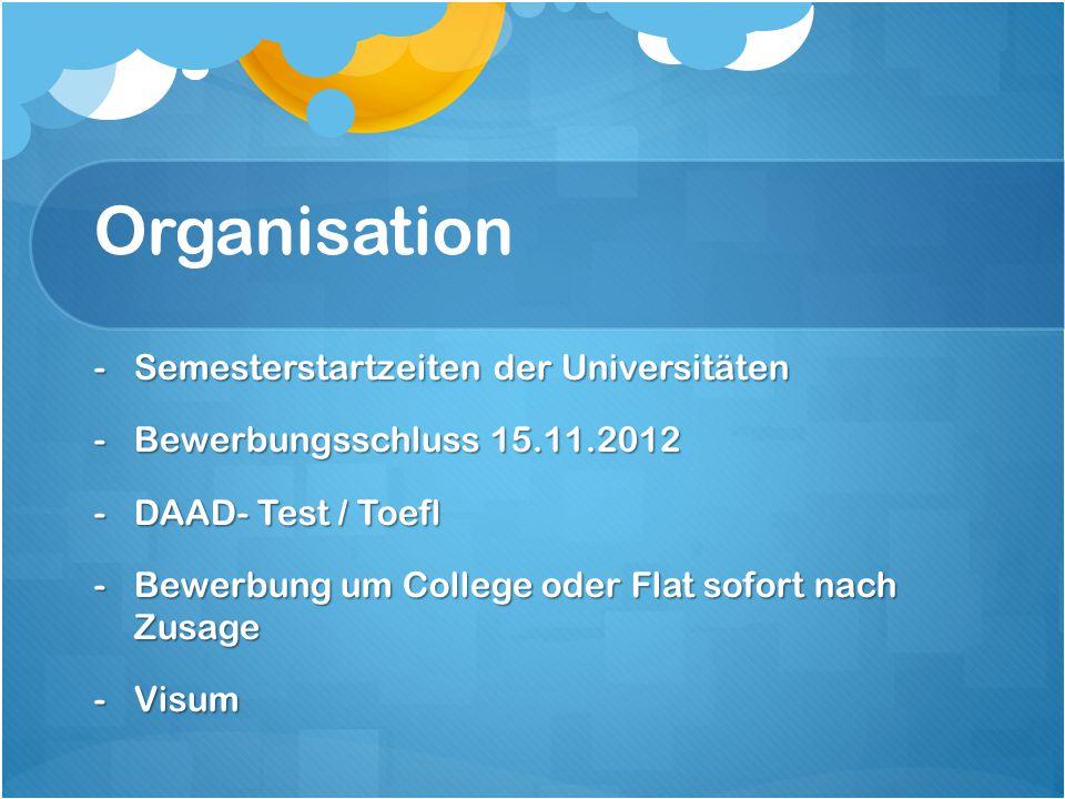 Organisation -Semesterstartzeiten der Universitäten -Bewerbungsschluss 15.11.2012 -DAAD- Test / Toefl -Bewerbung um College oder Flat sofort nach Zusa