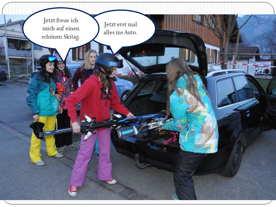 Jetzt erst mal alles ins Auto. Jetzt freue ich mich auf einen schönen Skitag.