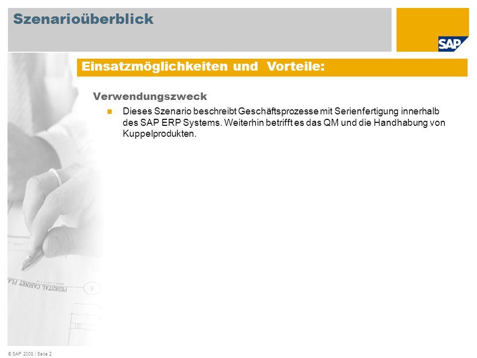 © SAP 2008 / Seite 3 Erforderlich SAP EHP3 for SAP ERP 6.0 An den Abläufen beteiligte Benutzerrollen Qualitätsmanagement Produktionsplaner Fertigungsbereichsspezialist Erforderliche SAP Anwendungen: Szenarioüberblick