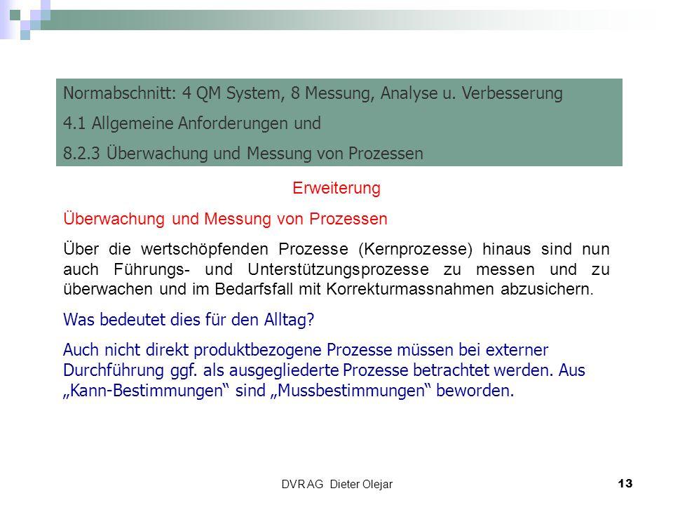 DVR AG Dieter Olejar 13 Risiko Management Normabschnitt: 4 QM System, 8 Messung, Analyse u. Verbesserung 4.1 Allgemeine Anforderungen und 8.2.3 Überwa