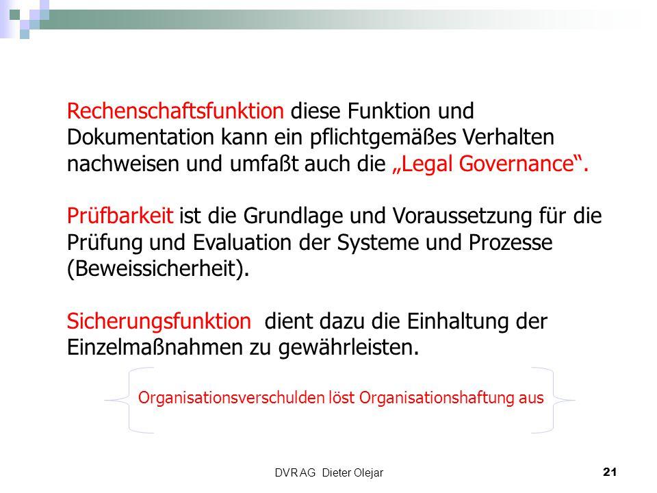 """DVR AG Dieter Olejar 21 Rechenschaftsfunktion diese Funktion und Dokumentation kann ein pflichtgemäßes Verhalten nachweisen und umfaßt auch die """"Legal"""