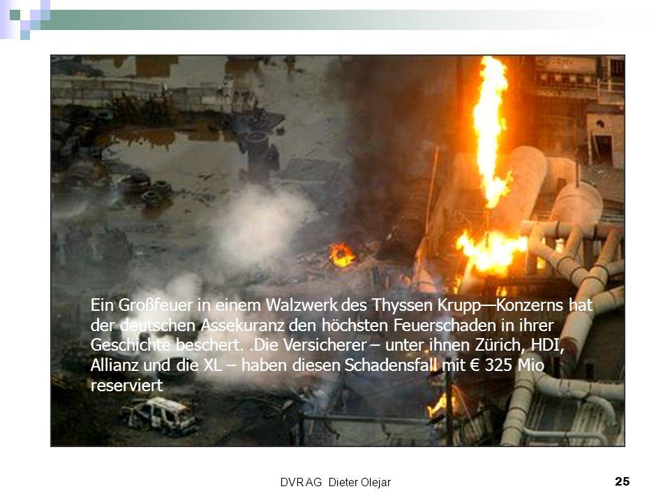 DVR AG Dieter Olejar 25 Ein Großfeuer in einem Walzwerk des Thyssen Krupp—Konzerns hat der deutschen Assekuranz den höchsten Feuerschaden in ihrer Ges