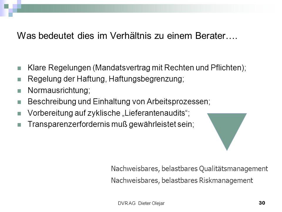 DVR AG Dieter Olejar 30 Was bedeutet dies im Verhältnis zu einem Berater…. Klare Regelungen (Mandatsvertrag mit Rechten und Pflichten); Regelung der H