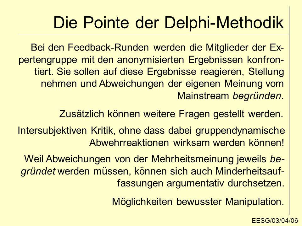 """""""Standard- und """"Quick-Delphi """"Standard-Delphi : 15-25 Teilnehmer für die Expertengruppe Problem: """"Mortalität der Stichprobe 3-4 Befragungsrunden reichen meist aus, um stabile Ergebnisse und Konsens über Problemlösungen zu erreichen """"Quick-Delphi : vereinfachte Version mit nur einer Feedback-Runde."""
