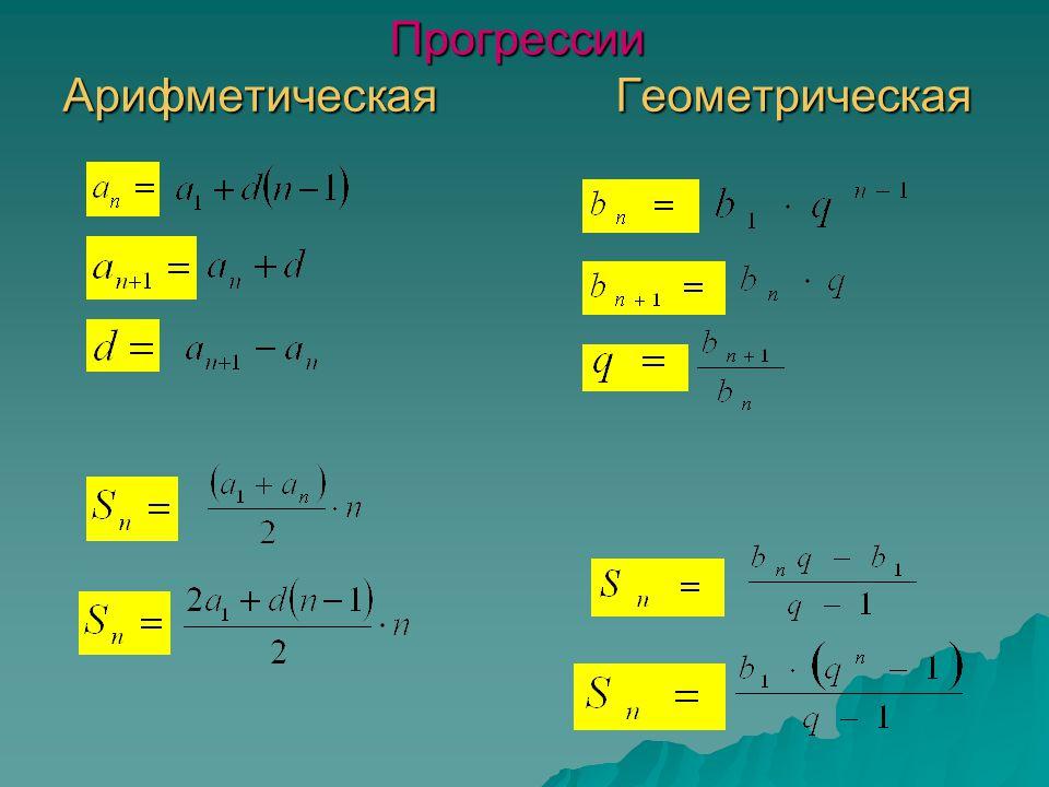 Прогрессии Арифметическая Геометрическая