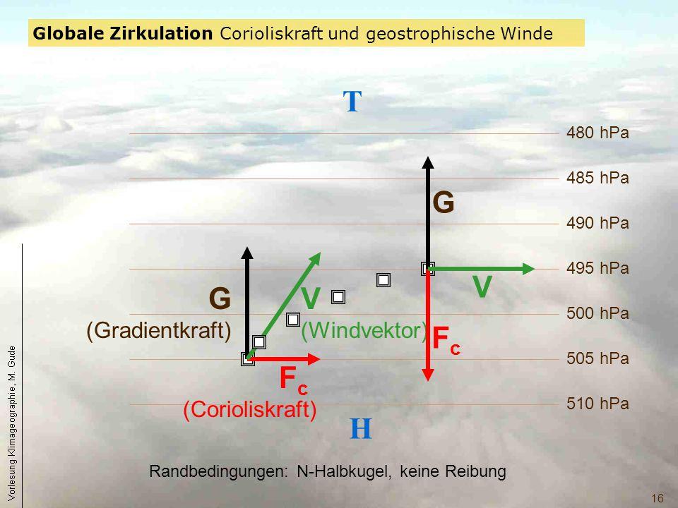 16 510 hPa 505 hPa 500 hPa 495 hPa 490 hPa 485 hPa 480 hPa H T G (Gradientkraft) F c (Corioliskraft) V (Windvektor) FcFc G V Randbedingungen: N-Halbku