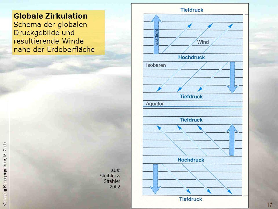 17 Globale Zirkulation Schema der globalen Druckgebilde und resultierende Winde nahe der Erdoberfläche aus: Strahler & Strahler 2002