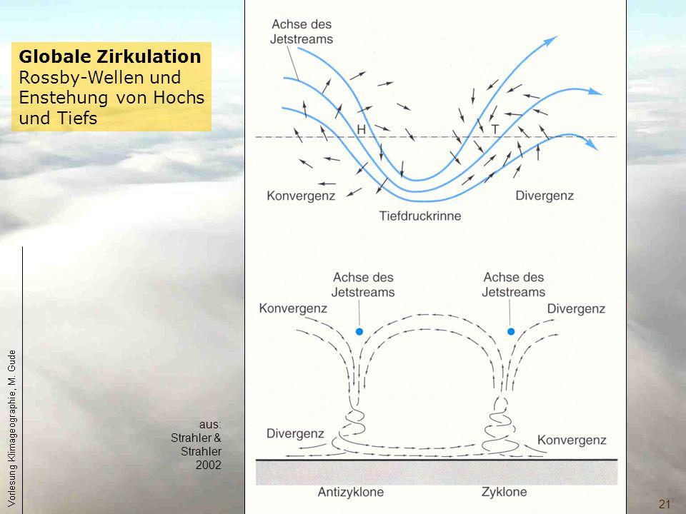 21 Globale Zirkulation Rossby-Wellen und Enstehung von Hochs und Tiefs aus: Strahler & Strahler 2002