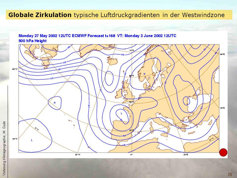 28 Globale Zirkulation typische Luftdruckgradienten in der Westwindzone