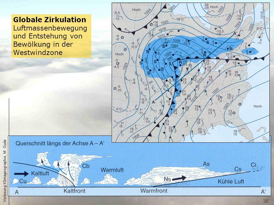 30 Globale Zirkulation Luftmassenbewegung und Entstehung von Bewölkung in der Westwindzone