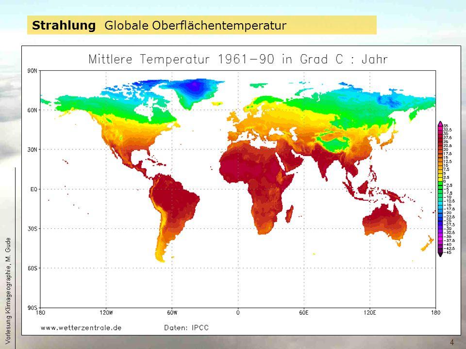 5 mittlere jährliche Strahlungsbilanz des Systems Erde/Atmosphäre in Abhängigkeit von der geographischen Breite.