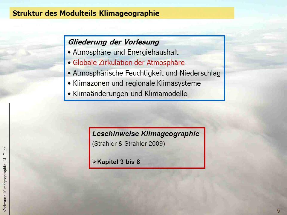 9 Lesehinweise Klimageographie (Strahler & Strahler 2009)  Kapitel 3 bis 8 Gliederung der Vorlesung Atmosphäre und Energiehaushalt Globale Zirkulatio