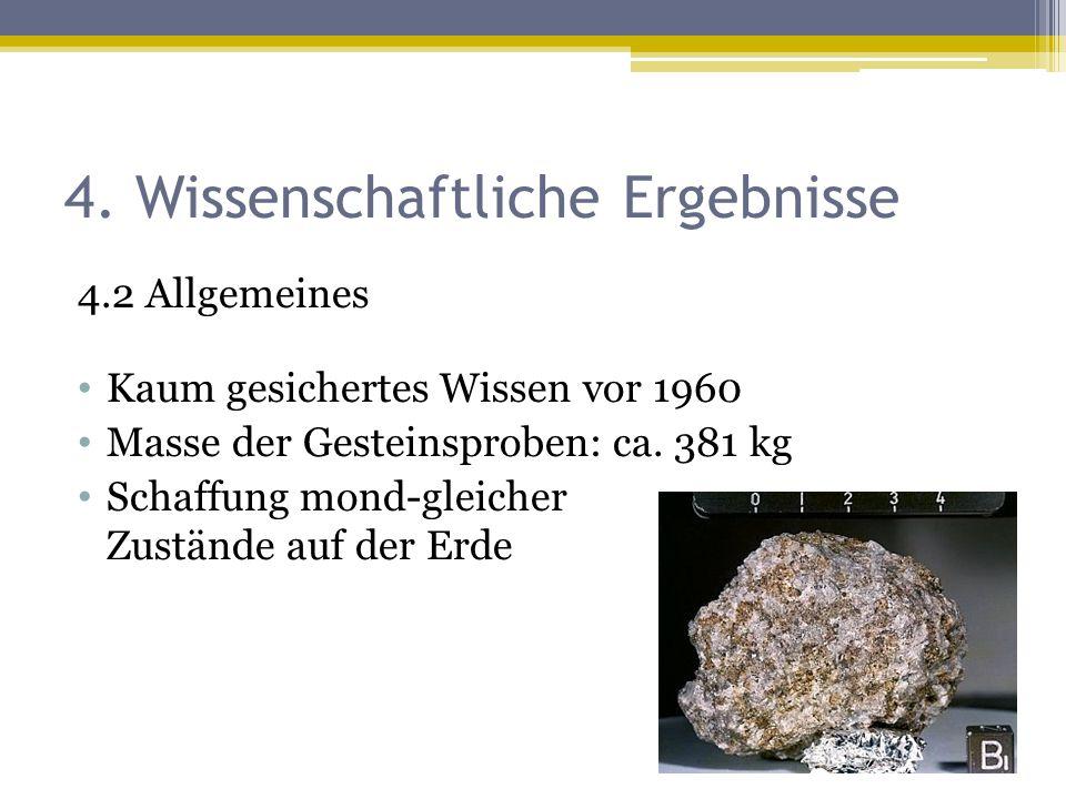 4. Wissenschaftliche Ergebnisse 4.2 Allgemeines Kaum gesichertes Wissen vor 1960 Masse der Gesteinsproben: ca. 381 kg Schaffung mond-gleicher Zustände
