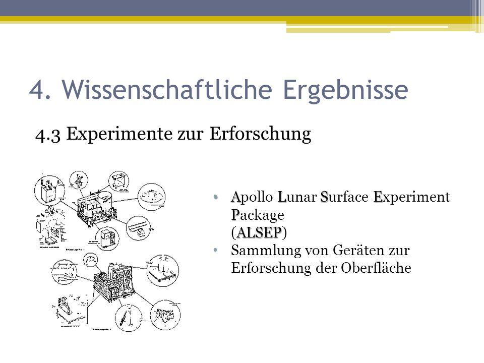 4. Wissenschaftliche Ergebnisse 4.3 Experimente zur Erforschung ALSE P ALSEP Apollo Lunar Surface Experiment Package (ALSEP) Sammlung von Geräten zur