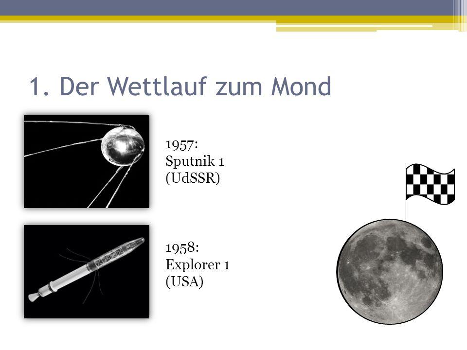 1. Der Wettlauf zum Mond 1957: Sputnik 1 (UdSSR) 1958: Explorer 1 (USA)