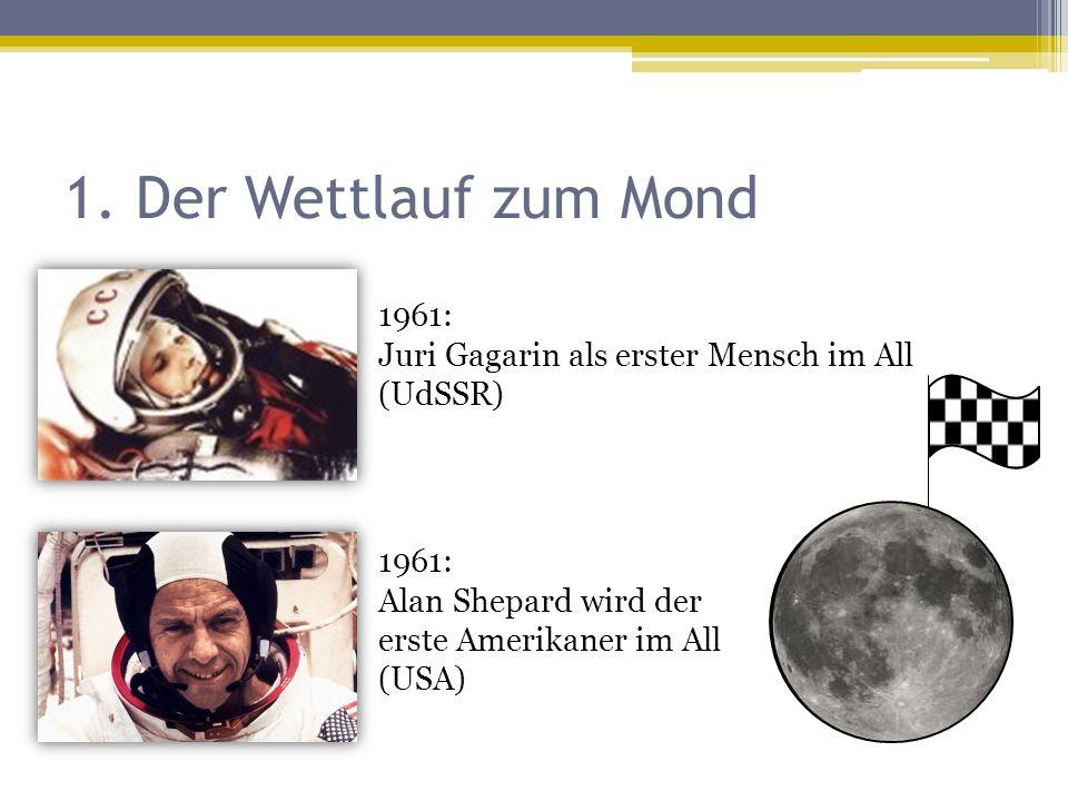 1. Der Wettlauf zum Mond 1961: Juri Gagarin als erster Mensch im All (UdSSR) 1961: Alan Shepard wird der erste Amerikaner im All (USA)