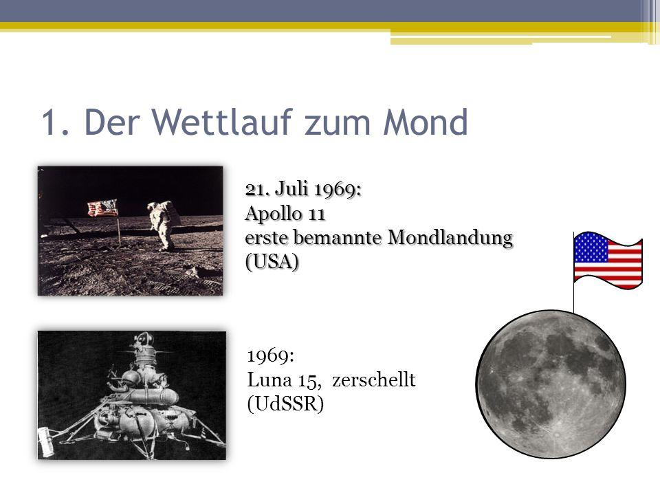 1. Der Wettlauf zum Mond 21. Juli 1969: Apollo 11 erste bemannte Mondlandung (USA) 1969: Luna 15, zerschellt (UdSSR)