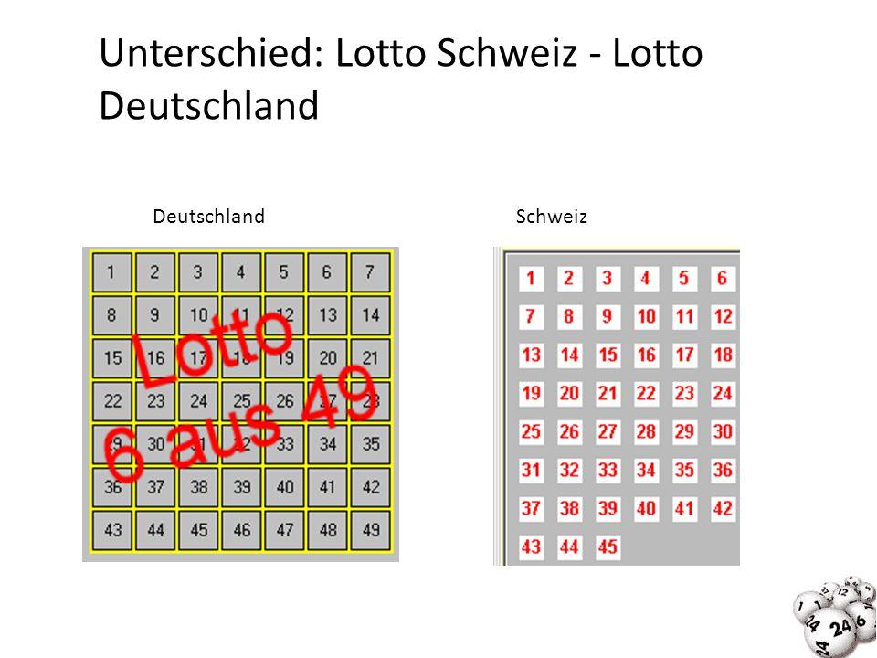 Unterschied: Lotto Schweiz - Lotto Deutschland DeutschlandSchweiz