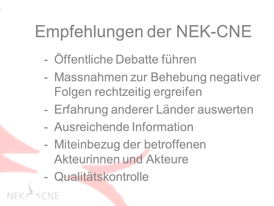 -Öffentliche Debatte führen -Massnahmen zur Behebung negativer Folgen rechtzeitig ergreifen -Erfahrung anderer Länder auswerten -Ausreichende Information -Miteinbezug der betroffenen Akteurinnen und Akteure -Qualitätskontrolle Empfehlungen der NEK-CNE
