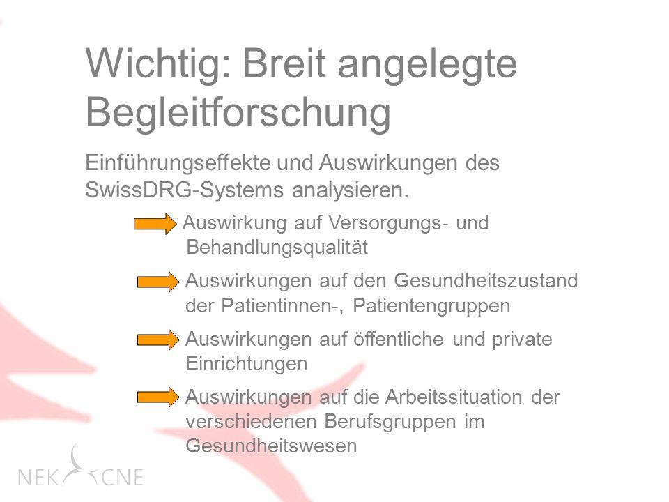 Wichtig: Breit angelegte Begleitforschung Einführungseffekte und Auswirkungen des SwissDRG-Systems analysieren.