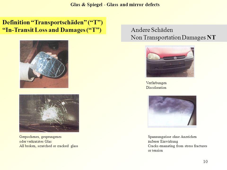 "10 Definition ""Transportschäden"" (""T"") ""In-Transit Loss and Damages (""T"") Andere Schäden Non Transportation Damages NT Gerpochenes, gesprungenes oder"