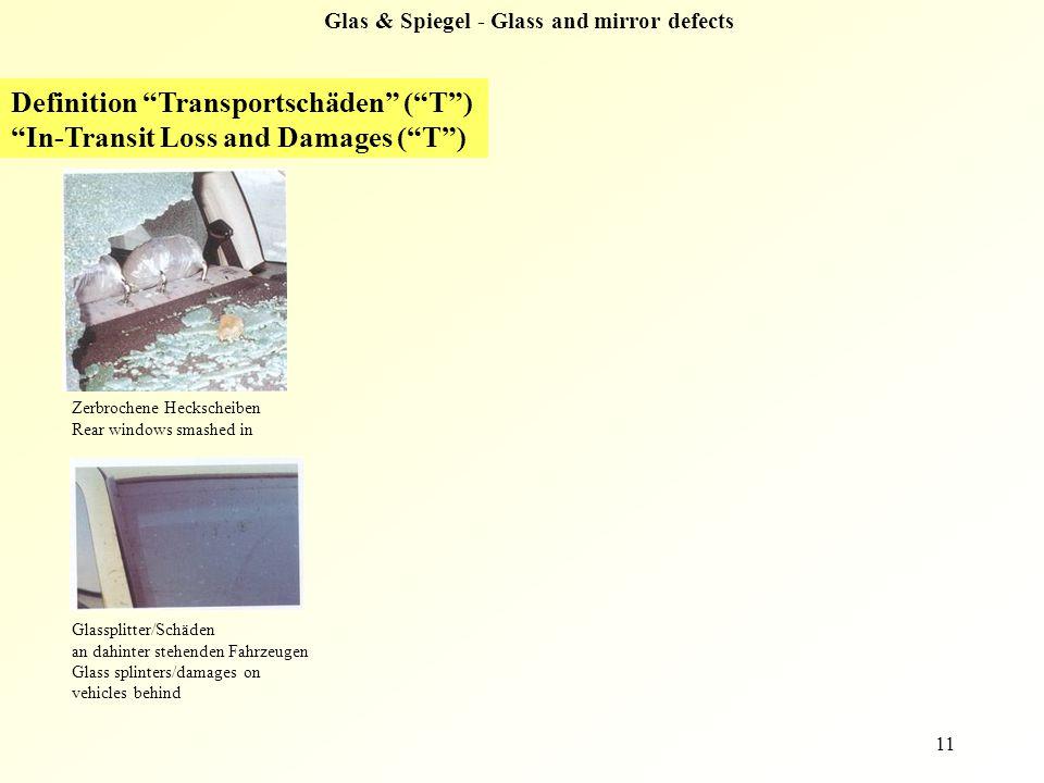 """11 Glas & Spiegel - Glass and mirror defects Definition """"Transportschäden"""" (""""T"""") """"In-Transit Loss and Damages (""""T"""") Zerbrochene Heckscheiben Rear wind"""