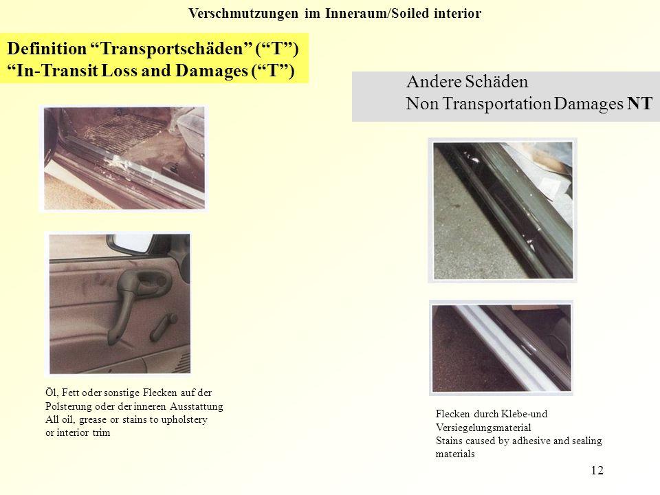 """12 Verschmutzungen im Inneraum/Soiled interior Definition """"Transportschäden"""" (""""T"""") """"In-Transit Loss and Damages (""""T"""") Andere Schäden Non Transportatio"""