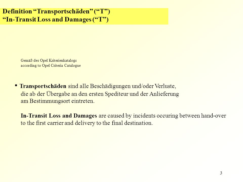 "3 Definition ""Transportschäden"" (""T"") ""In-Transit Loss and Damages (""T"") Gemäß des Opel Kriterienkatalogs according to Opel Criteria Catalogue Transpo"